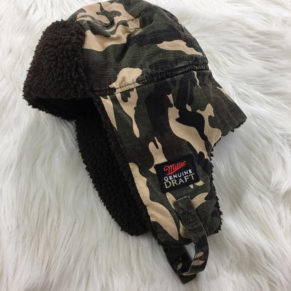Miller Beer Ear Flap Camo Hat. M 5b82dc355098a09f1081c800 c455b062bba